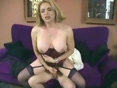 Passionate mature tranny sexing with young dude
