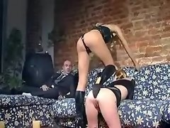 Blond girl and blond ts in kinky outfits entertain guy