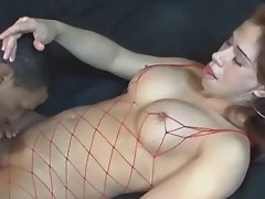 Dude and shemale in fishnet outfits fuck on sofa