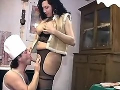 Busty shemale treats all friends by her yummy cock
