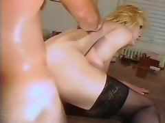 Winsome blond shemale gets pleasure from her lover