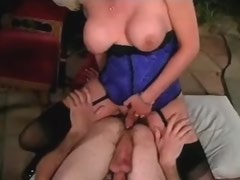 Pretty blonde shemale dominating happy lover in house
