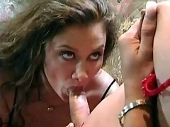 Sexy blond tranny makes dirty girl blow n nails her