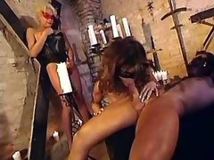 Kinky tranny gang bang in masks w lots of dicksucking
