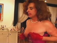 Hot shemale in red lingerie gets spanked n dildoed
