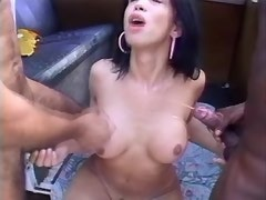 Tranny fucks w guys n gets comshots on tits in car