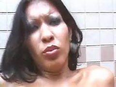 Tempting latin tranny with small tits fucks and sucks cock