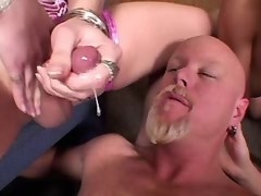 Shemales jizzing on bald man after group ass fuck