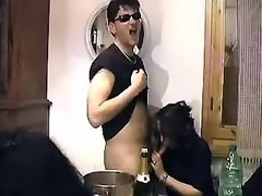 Party ends with drunk shemale sucking off all guests