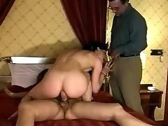 Dirty girl blows guy and tranny and gets nailed