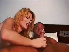 Shemale jumps on cock and gets cum