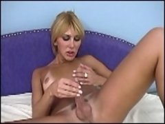 Sexy blonde tranny rubbing asshole and dick