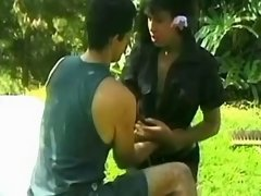 Brunette shemale get fucked outdoor