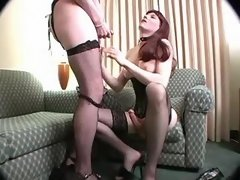 Shemale jizzing on tits of tranny
