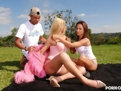 A horny couple get it on with a blonde tranny in this action