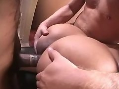 Guys share blonde shemale in office