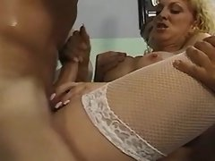 Two guys screw blonde shemale nurse
