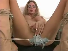 Blond shemale playing w funny dildo
